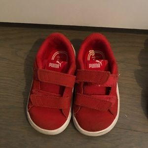 Red puma sneakers for toddler